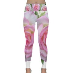 Roses Pink Flowers Perfume Leaves Lightweight Velour Classic Yoga Leggings