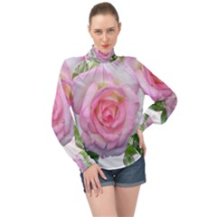 Roses Pink Flowers Perfume Leaves High Neck Long Sleeve Chiffon Top