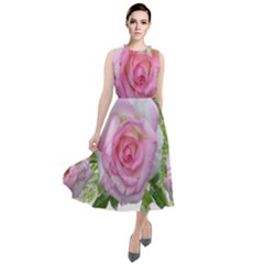 Roses Pink Flowers Perfume Leaves Round Neck Boho Dress