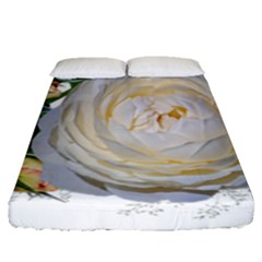 Flowers Roses White Fragrant Fitted Sheet (queen Size)