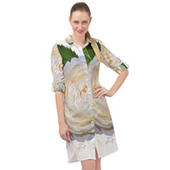Flowers Roses White Fragrant Long Sleeve Mini Shirt Dress