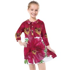 Flowers Red Peony Arrangement Kids  Quarter Sleeve Shirt Dress