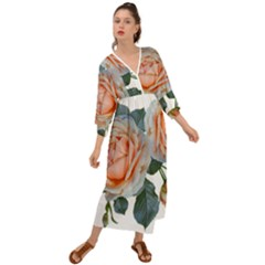 Roses Flowers Buds Ragrance Grecian Style  Maxi Dress