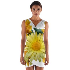 Daisies Flowers Yellow Arrangement Wrap Front Bodycon Dress