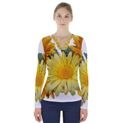 Daisies Flowers Yellow Arrangement V Neck Long Sleeve Top