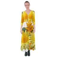 Daisies Flowers Yellow Arrangement Button Up Maxi Dress