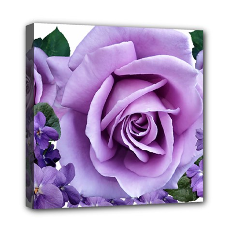 Roses Violets Flowers Arrangement Mini Canvas 8  X 8  (stretched) by Pakrebo