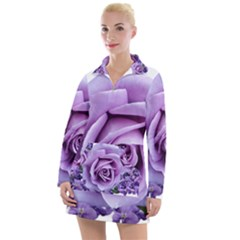 Roses Violets Flowers Arrangement Women s Long Sleeve Casual Dress