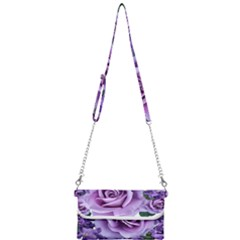 Roses Violets Flowers Arrangement Mini Crossbody Handbag
