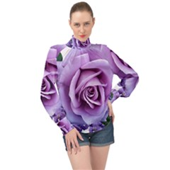 Roses Violets Flowers Arrangement High Neck Long Sleeve Chiffon Top