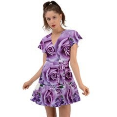 Roses Violets Flowers Arrangement Flutter Sleeve Wrap Dress