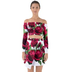 Roses Flowers Red Romantic Garden Off Shoulder Top With Skirt Set