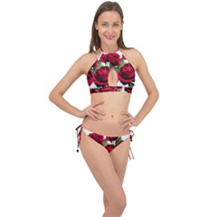 Roses Flowers Red Romantic Garden Cross Front Halter Bikini Set