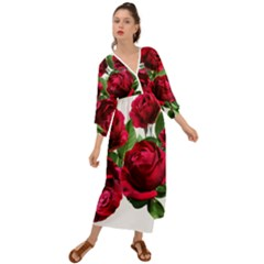 Roses Flowers Red Romantic Garden Grecian Style  Maxi Dress
