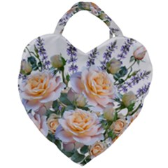 Roses Flowers Salvias Arrangement Giant Heart Shaped Tote