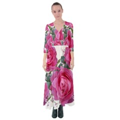Roses Gypsophila Flowers Fragrant Button Up Maxi Dress