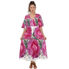 Roses Gypsophila Flowers Fragrant Kimono Sleeve Boho Dress