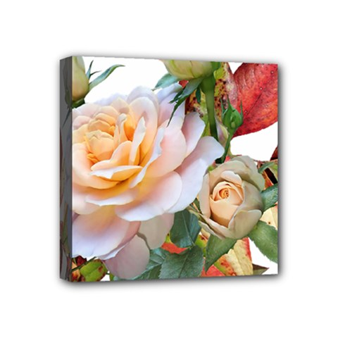 Autumn Leaves Roses Flowers Garden Mini Canvas 4  X 4  (stretched) by Pakrebo
