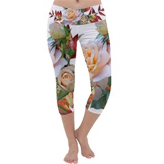 Autumn Leaves Roses Flowers Garden Capri Yoga Leggings by Pakrebo