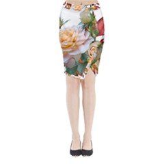 Autumn Leaves Roses Flowers Garden Midi Wrap Pencil Skirt