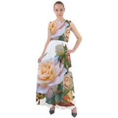 Autumn Leaves Roses Flowers Garden Chiffon Mesh Boho Maxi Dress