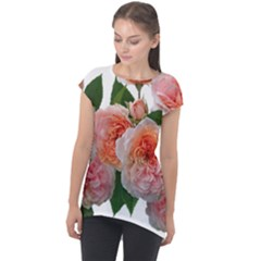 Roses Flowers Arrangement Perfume Cap Sleeve High Low Top