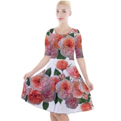 Roses Flowers Arrangement Perfume Quarter Sleeve A Line Dress