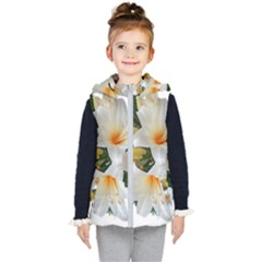 Lilies Belladonna White Flowers Kids  Hooded Puffer Vest