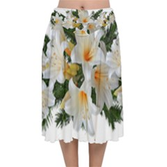 Lilies Belladonna White Flowers Velvet Flared Midi Skirt