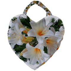 Lilies Belladonna White Flowers Giant Heart Shaped Tote