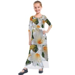 Lilies Belladonna White Flowers Kids  Quarter Sleeve Maxi Dress