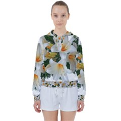 Lilies Belladonna White Flowers Women s Tie Up Sweat