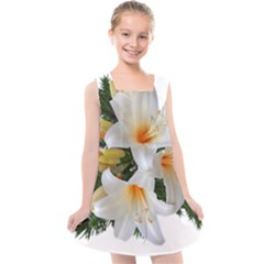Lilies Belladonna White Flowers Kids  Cross Back Dress