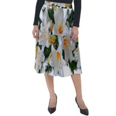 Lilies Belladonna White Flowers Classic Velour Midi Skirt