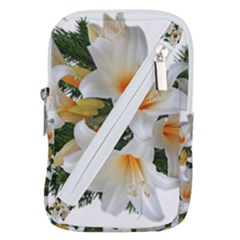 Lilies Belladonna White Flowers Belt Pouch Bag (small)
