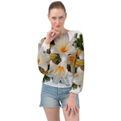 Lilies Belladonna White Flowers Banded Bottom Chiffon Top