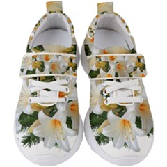 Lilies Belladonna White Flowers Kids  Velcro Strap Shoes