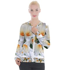Lilies Belladonna White Flowers Casual Zip Up Jacket