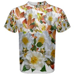 Flowers Roses Leaves Autumn Men s Cotton Tee