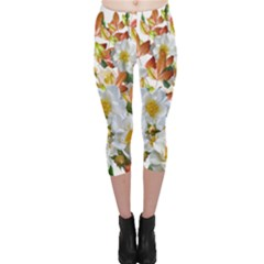 Flowers Roses Leaves Autumn Capri Leggings
