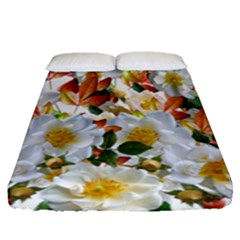 Flowers Roses Leaves Autumn Fitted Sheet (queen Size)