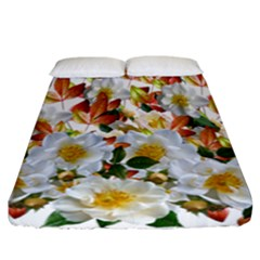 Flowers Roses Leaves Autumn Fitted Sheet (california King Size)
