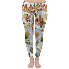 Flowers Roses Leaves Autumn Classic Winter Leggings