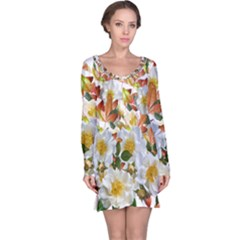 Flowers Roses Leaves Autumn Long Sleeve Nightdress