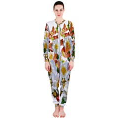 Flowers Roses Leaves Autumn Onepiece Jumpsuit (ladies)  by Pakrebo