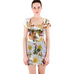 Flowers Roses Leaves Autumn Short Sleeve Bodycon Dress