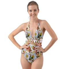 Flowers Roses Leaves Autumn Halter Cut Out One Piece Swimsuit