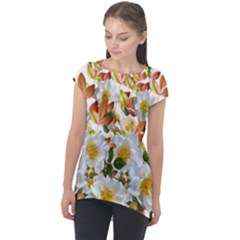 Flowers Roses Leaves Autumn Cap Sleeve High Low Top