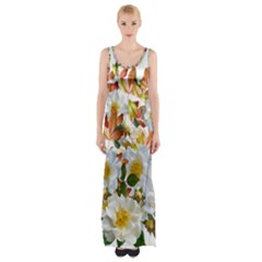 Flowers Roses Leaves Autumn Thigh Split Maxi Dress