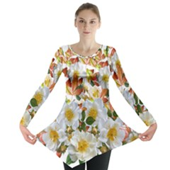 Flowers Roses Leaves Autumn Long Sleeve Tunic